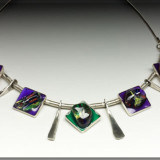 Squares in Purple- Sterling Silver and Mixed Media