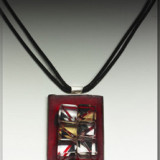 Ice on Red- Sterling Silver and Mixed Media