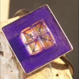 Ice on Purple- Sterling Silver and Mixed Media