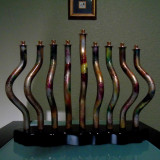 Hanukkah Collectable Menorah Brass and Mix Media